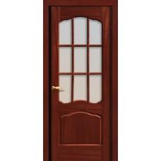 Межкомнатная дверь Свобода 737 Шпон красного дерева темный 04.04 полотно с осеклением решетка вид стекла ст.1 коллекция Valdo
