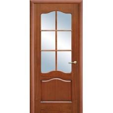 Межкомнатная дверь Свобода 782 Шпон красного дерева светлый 00.04 полотно с осеклением решетка вид стекла ст.1 (2000х900) коллекция Valdo